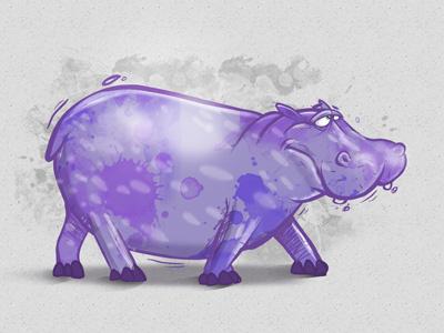 Hippo hippo character cybe cybirds purple photoshop illustrator