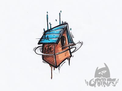 Cybirds' Birdhouse birdhouse sketch drawing illustration bid cybe cybirds