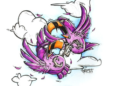 Battlebirds Colored cybe cybirds sketch drawing illustration colored birds battle yay