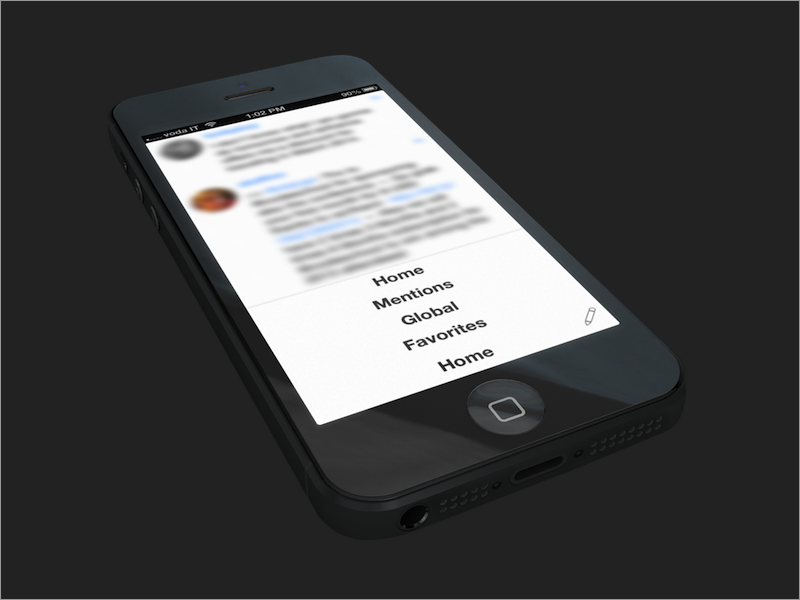 Menu on Neater neater app.net menu ios iphone blur