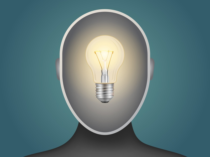 The idea is in the head. brain light bulb illustration vector head men idea