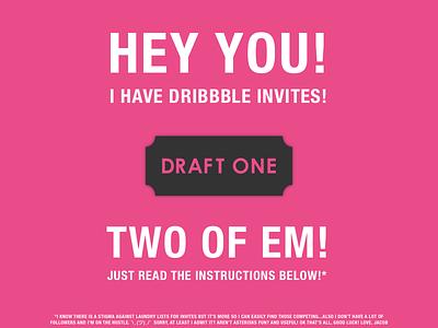 Invites Up for Grabs! dribbble invite pink contest invite