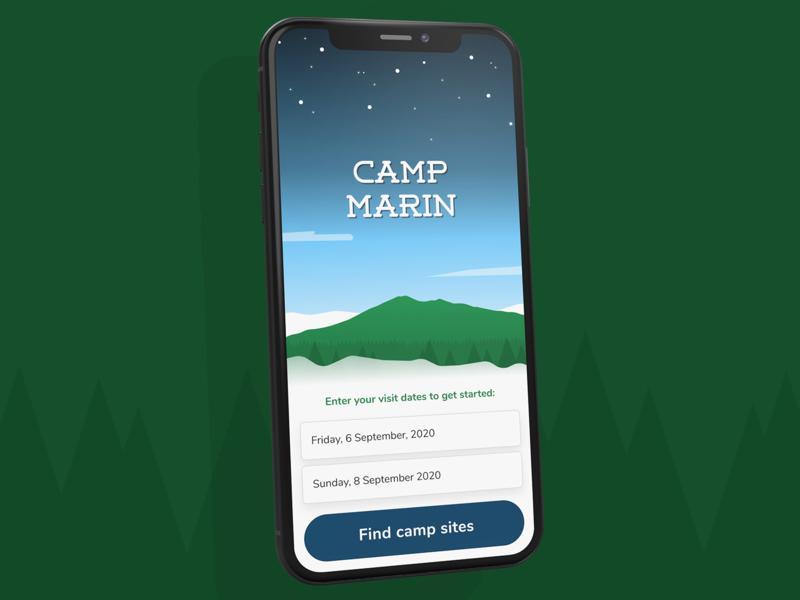 Camp Marin iphone ios mobile ui illustration