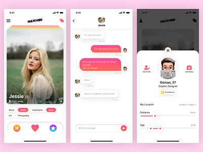 Matcher Friend Finder App UI Kits social social app chatting chat friendfinder match ios design ui ux mobile app concept app