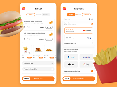 Shopping Cart and Checkout UI Kit graphic design design uxui ios mobile app food redesign shopping cart concept app ux ui