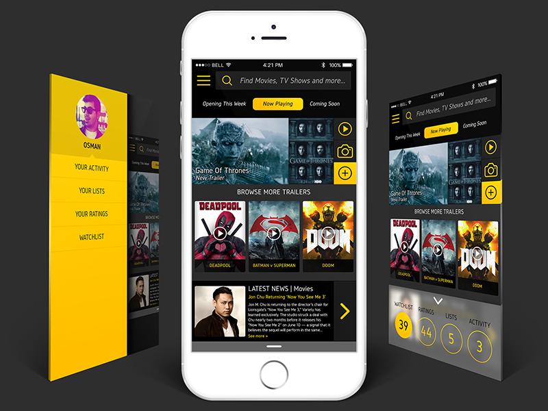 IMDb Mobile App Unoffical Re-Design ios movie app graphic design redesign mobile design app mobile app userinterface ux ui