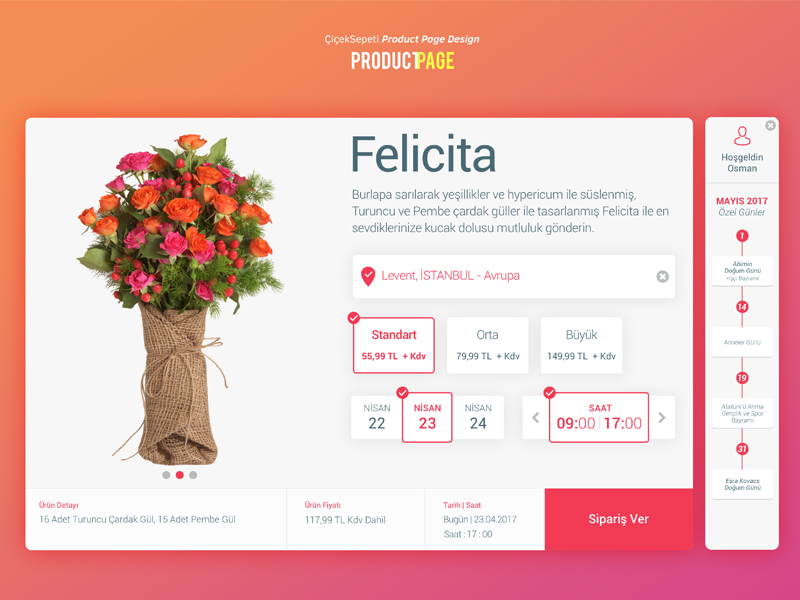 CicekSepeti Product Page Re-Design flower flowers web design product card product page redesign re-design