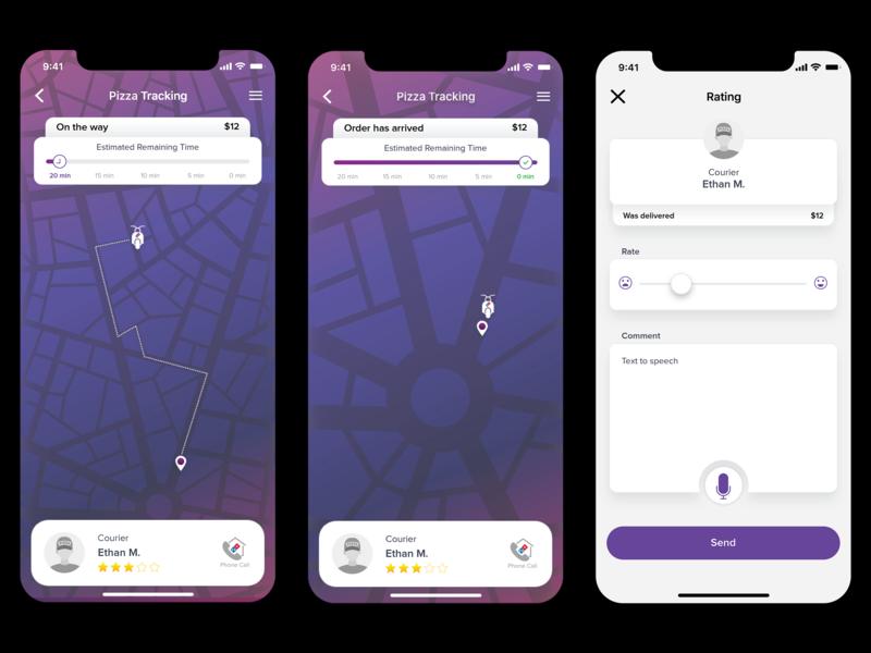 Pizza Tracking App Re-Design xd adobe ui ui  ux gps tracking