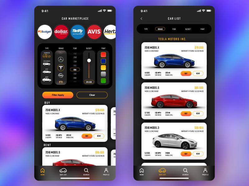 Car marketplace app adobexduikit design ios marketplace uidesign e-commerce app uiux ui