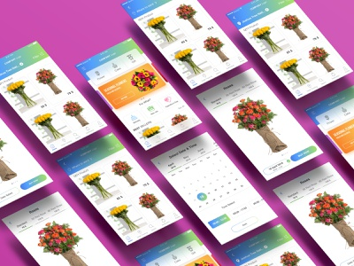 Flowers, cake & gift online order mobile app design application sketch template ui kits ui design mothers day valentine day food flower gift e-commerce order concept app