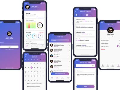 Startup Company, Dashboard & Internal Communication app. dashboard template ui ui kits mobile design mobile app application app total work hours work startup messaging communication