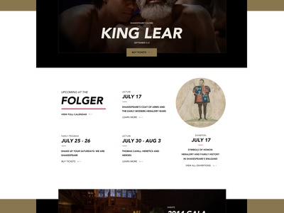 Folger Shakespeare Library homepage theatre ui