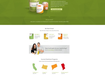 Paintcare homepage paintcare ui website paint green