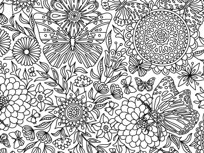 Butterflies colouring pages for
