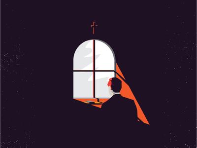 Doubt design illustration lighting doubt bible window character