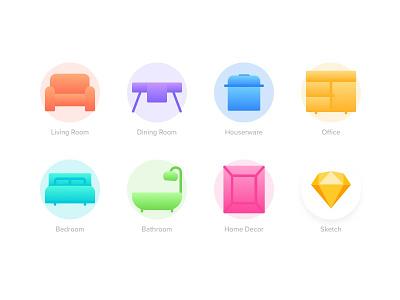JYSK Iconset ios free sketch freebie download furniture icon set icons