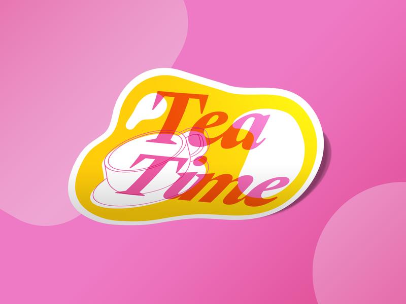 Tea Time vector poster sticker type isometric ecobee typography branding design illustration