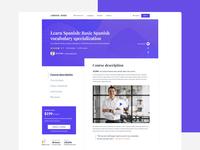 Course Page for LS course single page language school learndash learnpress online course education website lms course course page