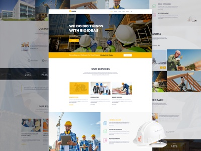 Construction landing page responsive renovation plumber painter handyman engineer electrician contractor construction company construction business construction cleaning services building builder architecture construction website