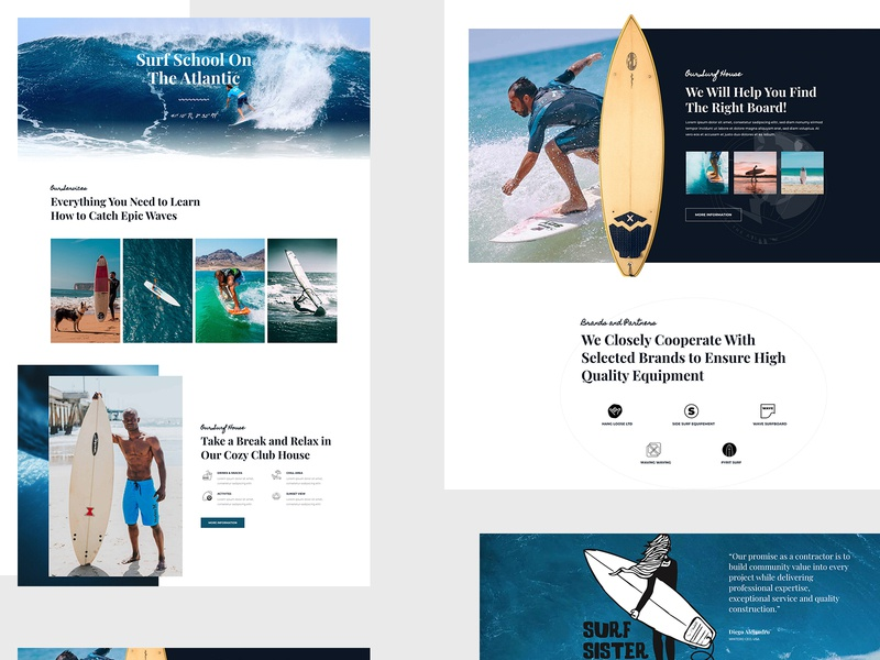 Surfing School Landing Page illustration business corporate psd blog website agency creative template landing page website design surfing