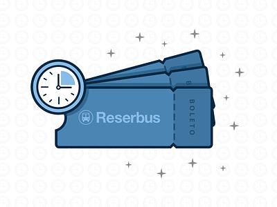 Reserbus Tickets stars tickets icons blue icon illustration clock reserbus tickets