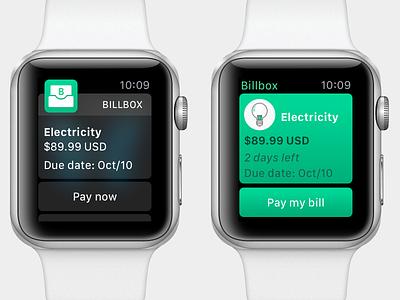 Apple Watch UI test apple watch watch green icon wearable service billbox app notification ui