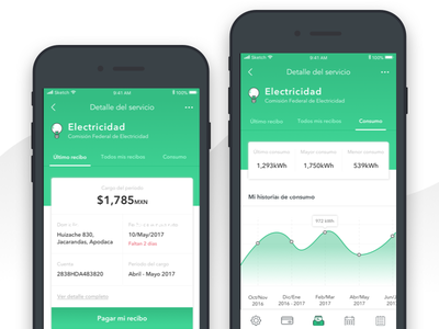 Billbox Dashboard mobile ui graphics bills green app ios mobile dashboard ui