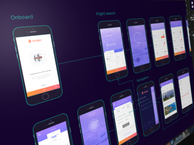 Flight booking app diagram behance user flow diagram
