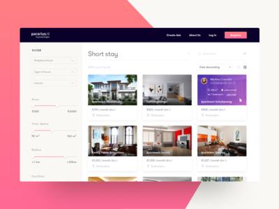 Real Estate UI Explore gradient card ui ux landing web rent search sort filter real estate