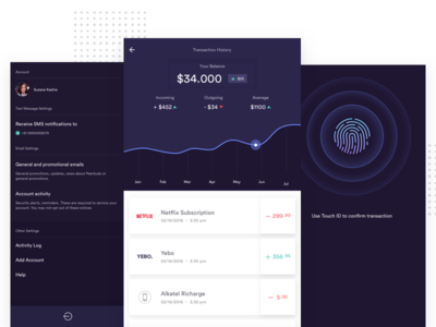 Banking App Exploration touch id fingerprint settings menu dark graph stat dashboard data finance payment bank