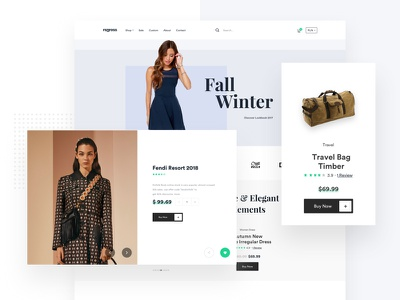 E-commerce Landing card clean fashion cart shopping ui website web landing e-commerce