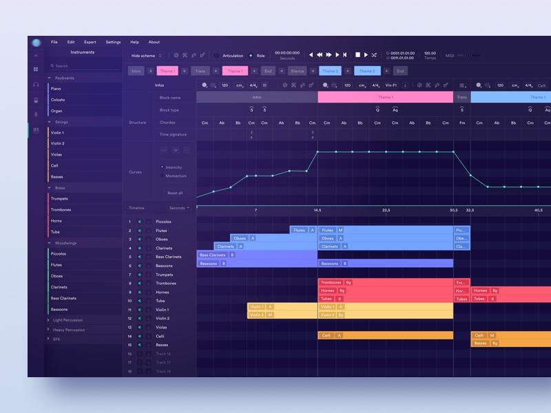 AI for Composers ai details app webapp composition dark software music