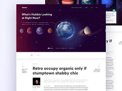 Medium - Sci UI galaxy dark ui science planet medium typography article landing sci-fi
