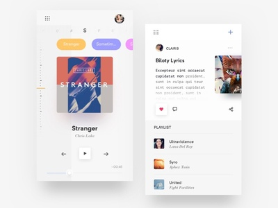Music Player Exploration light ux ui app song mobile lyrics playlist audio player music