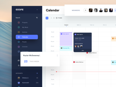 Schedule UI event calendar dashboard team management sales calendar ui schedule