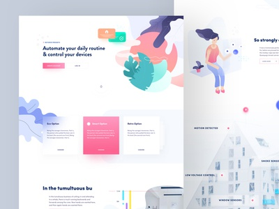 Home Automation Landing web website ui ux landing landing page illustration vector abstract smart home iot gradient