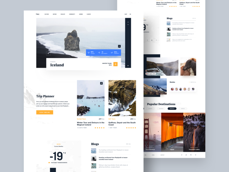 Travel Category Page iceland typography landing page rating norde minimal clean header card weather web landing ux ui blog travel blog travel