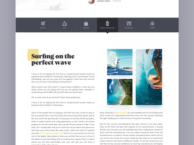 Travel Article Page norde menu card grid news article travel design typography landing web ux ui