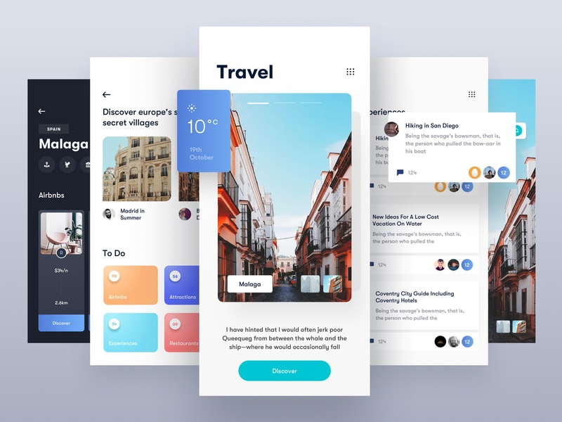 Travel App 🏖Light food ux ui design ux photo app travel agency cards social social media comment photo travel