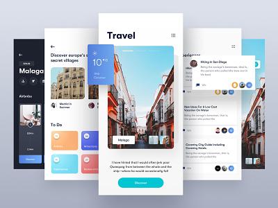Travel App 🏖Light food ux ui design ux photo app travel agency cards social social media comment photo travel