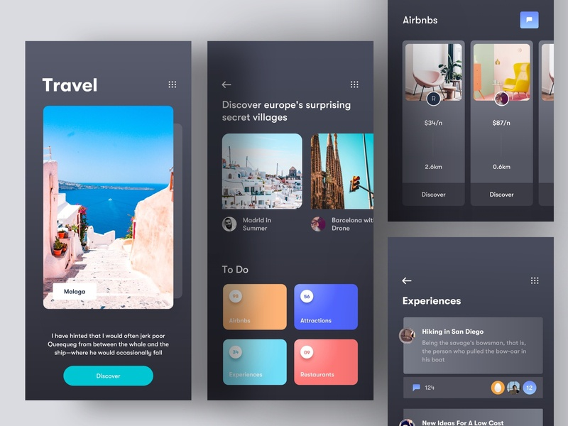 Travel App 🏖 Dark pastel color lonely planet travel blog airbnb travel app dark travel card app ux ui