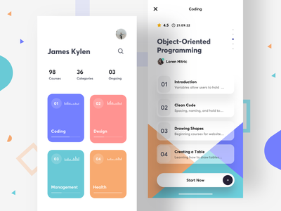 Course App - 2 social profile learning app courses course hero typography dashboard learning course ios card clean app ux ui