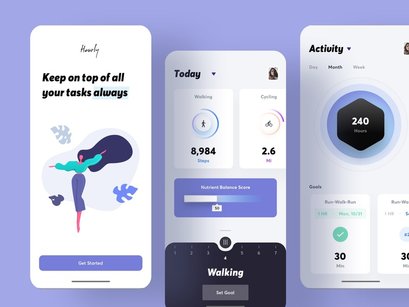 Hourly time fitness app data onboarding project management time management fitness dashboard card clean app vector branding design typography illustration ios ux ui