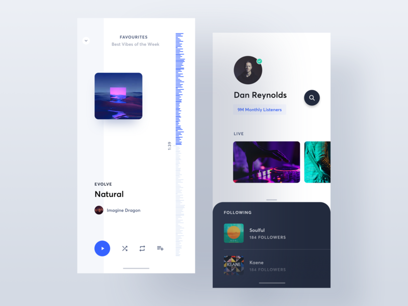 Music Player 19 - 2 minimal app minimal stat list profile data player ui player music artist music player music typography ios clean app web ux ui