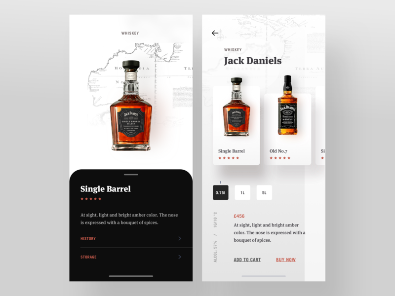 Jack Product Details typography ui ux card details page drink beer wine product details cart clean ios ecommerce shop data branding whiskey app branding app