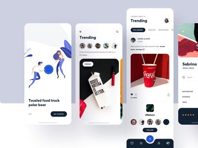 Social Media - 2 news feed onboarding datingapp dating social social media card clean branding data travel dashboard illustration typography ios web app ux ui