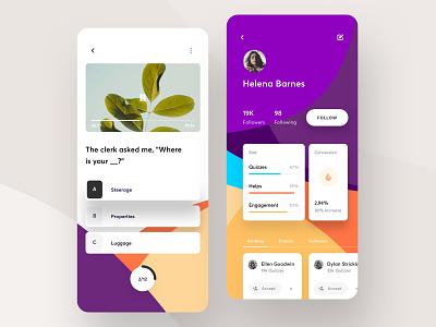 Course App - 1 menu quiz app social stat dash profile video quiz branding design dark data dashboard typography ios card clean app ux ui