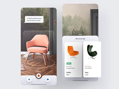 Hutch AR based iOS app ui ux app ios typography ecommerce arkit ar furniture room 3d cube card furniture shop shopping shop clean design branding