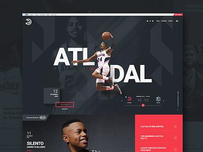 Atlanta Hawks sports identity creative typography layout grid flat ui website ux ui web design web