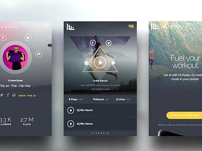 Fit Radio UI Screens creative typography material grid flat ui ux ui app web design web